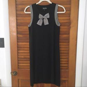 Zsa Zsa Boutique Vintage Black Bow Stripe Dress L